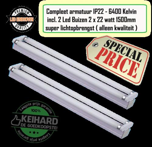 Led Armatuur - IP22 Aanbieding 2 x 150 cm - 7802-sll-arm-2x150cm ip22