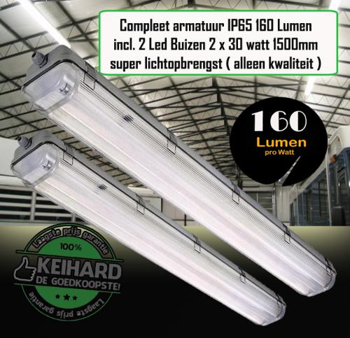 Led TL Armatuur Waterproof 60 watt 1.5m incl 2 Buizen Pro - 7784-sll-t8-30w-160lm