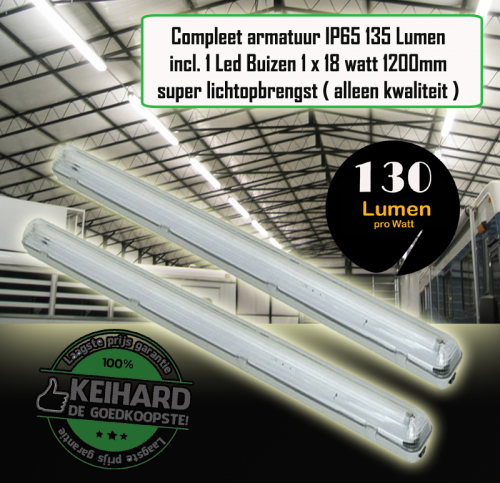 Led TL Armatuur Waterproof 1 x 20watt 1.2m incl 1 BUIS-120Lm - 7780-sll-arm-tl-alu-120