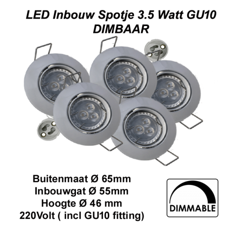 Led Spotlight 3.5 watt  gu10 COMPLEET-kantelbaar - 6352-sll-spotlight 3.5w gu10-compleet