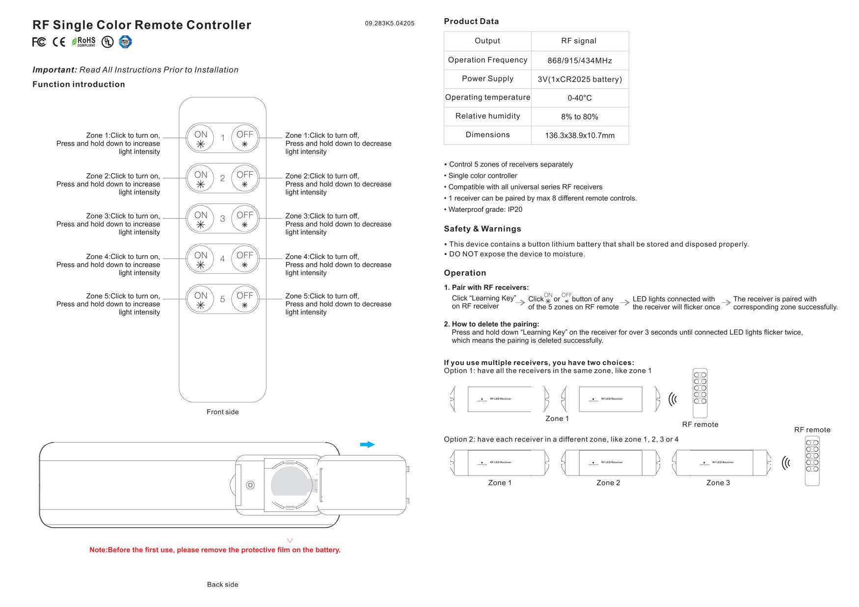 9230-sll-rf-dim controller-sr-2833k5