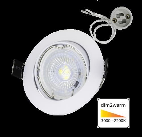 Led Spotlight Inbouw 5.5 Watt GU10 Wit-DIM2WARM - 6357-sll-led spotjes dim2warm