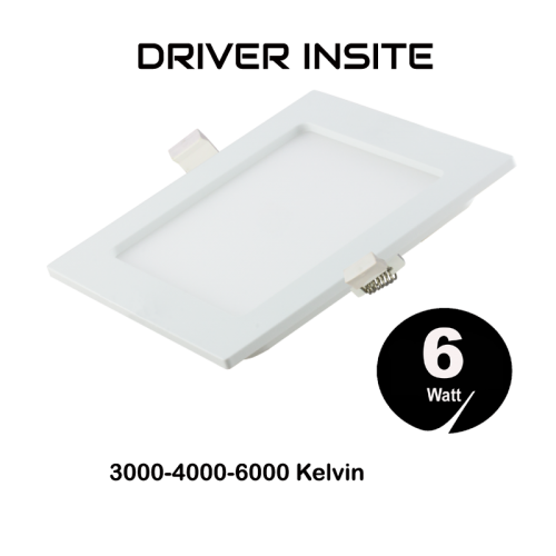 LED SLIM SQUARE DOWN LIGHT 6W  - 5520-sll-vierkant-220volt