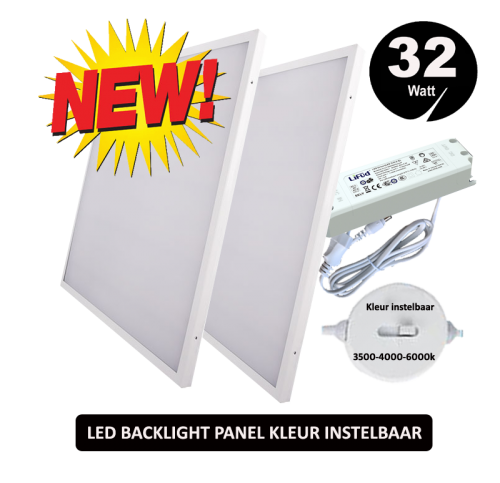 Led Paneel Blacklight-595x595mm-32W  Zelf kleur instellen - 5280-sll led paneel backlight cct
