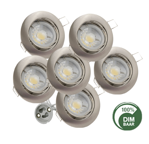 LED SPOTLIGHT 5.5WATT GU10 RVS  DIMBAAR - 6355-sll-inb-comp-rvs