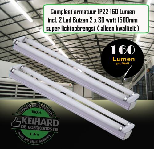 LED TL ARMATUUR T8 30W COMPLEET 1500MM 160 LUMEN - 7813-sll-tl-2 x 30w-arm-t8-1500mm