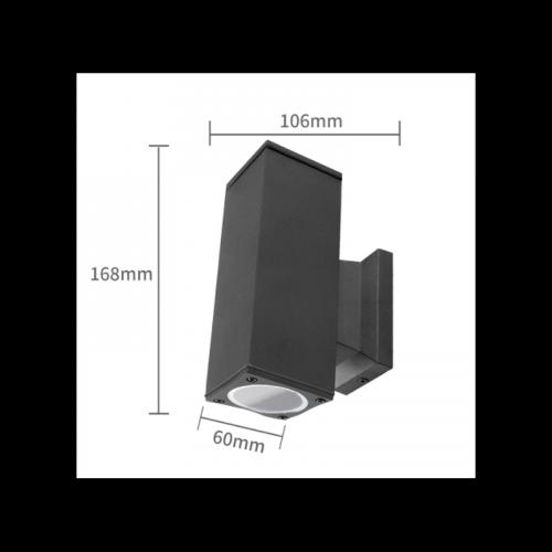 Wandlamp Black Body GU10 ZWART DUBBEL GU10 - 7102-wand-gu10-dubbel