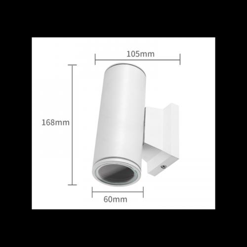 Wandlamp White Body GU10 Dubbel. - 7105-wandlamp-gu10-wit-dubbel