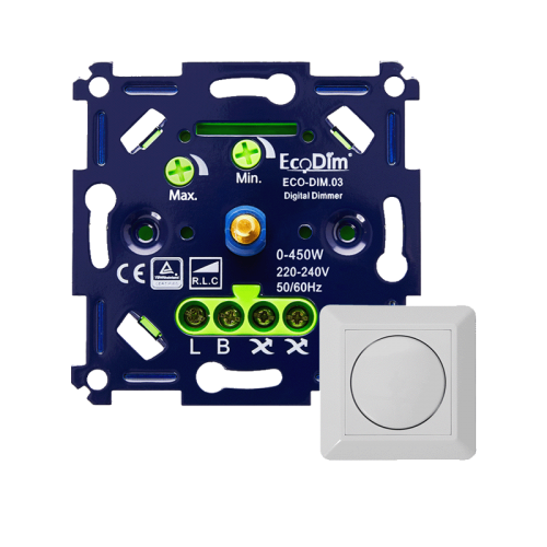 Led Eco Bright dimmer inbouw 0-450W, aan-afsnijding - 9312-eco-bright aan-afsnijding 450
