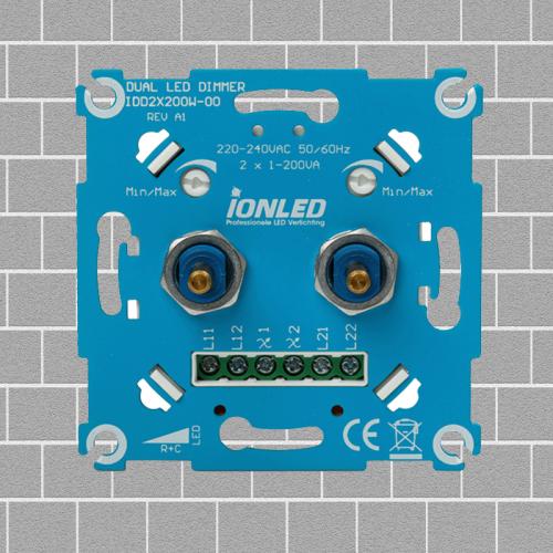 DUO LED DIMMER | 2×0.3-200 WATT - 8734-2 x led dimmer