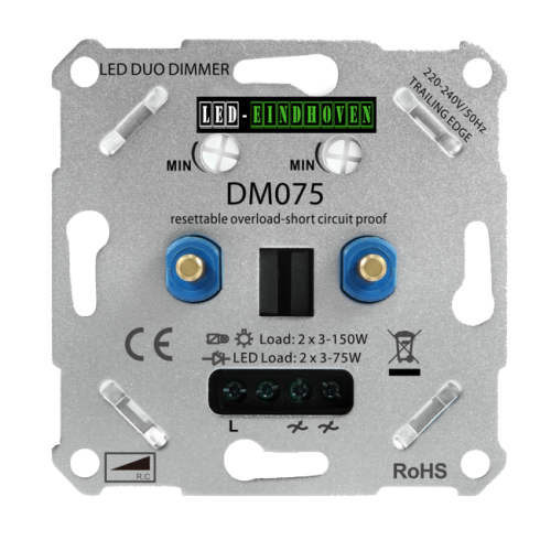 Lab040 Led Dimmer 2 x 3 -175 Watt electrische zekering - 9204- sll-duo dimmer-2x 3-175w