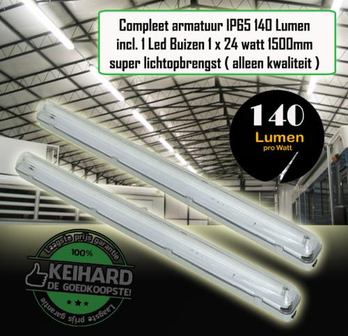 Led TL Armatuur Waterproof 24watt 1.5m incl 1 Buis-140 - 7769-sll-tl-tri-1 x t8-140 lumen